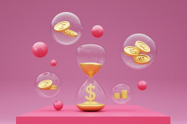 Czas to koncepcja pieniądza z klepsydrą i złotymi monetami. renderowanie 3d.