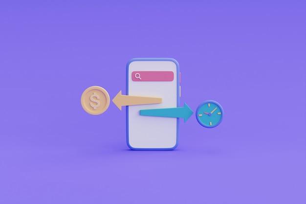 Czas to koncepcja pieniądza, zarządzanie budżetem, zarządzanie czasem, termin płatności. ilustracja renderowania 3d.