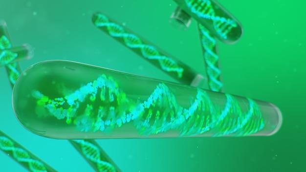 Cząsteczka dna, jej struktura. pojęcie ludzkiego genomu. cząsteczka dna ze zmodyfikowanymi genami. koncepcyjna ilustracja cząsteczki dna wewnątrz szklanej probówki z cieczą. sprzęt medyczny, 3d ilustracja