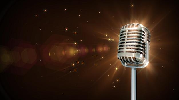 Cząsteczka mikrofonu retro