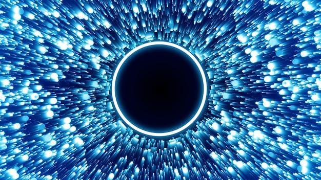 Cząsteczka niebieskiej linii abtract energy circle mask glow w centrum renderowania 3d ilustracji