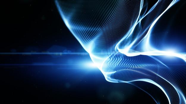 Cząsteczki cyfrowe w kolorze niebieskim przepływają fale i oświetlenie. technologia streszczenie tło koncepcji. z miejsca na kopię
