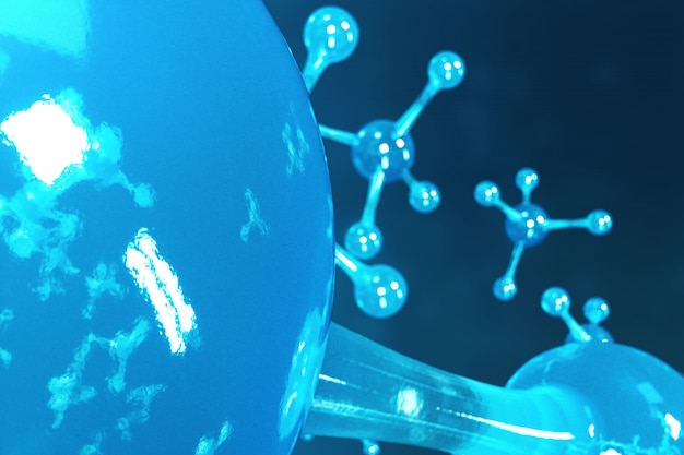 Cząsteczki renderujące 3d. atomy bacgkround. medyczne na baner lub ulotkę. struktura molekularna na poziomie atomowym.