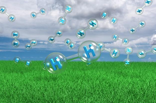 Cząsteczki wodoru unoszące się w powietrzu na trawie z błękitnym niebem z białymi chmurami w.