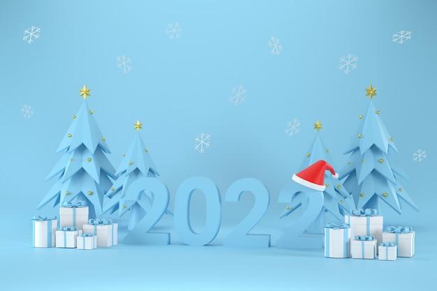 Czcionka 3d 2022 a santa claus hat gift box choinka na boże narodzenie i nowy rok
