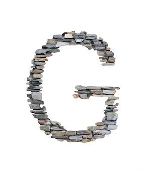 Czcionka g do tworzenia z kamiennej ściany na białym tle.