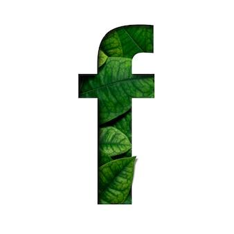 Czcionki f wykonane z żywych liści real w kształcie wyciętego papieru precious.