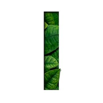 Czcionki l wykonane z prawdziwych żywych liści w kształcie wyciętego papieru precious.