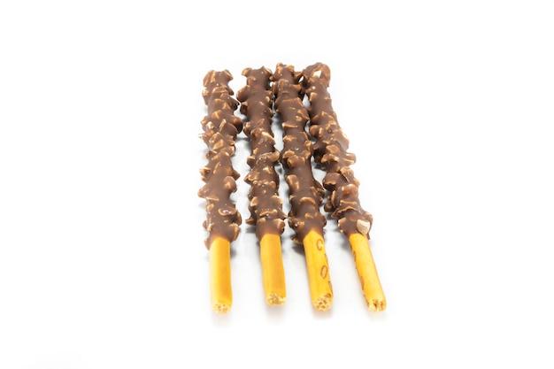Czekolada Poky Poky Sticks Na Białym Tle Premium Zdjęcia