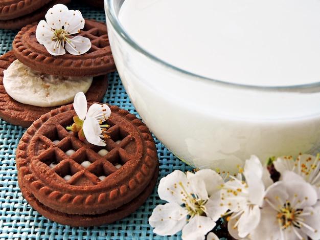 Czekoladowe ciasteczka z białą śmietaną i kwiatami sakury