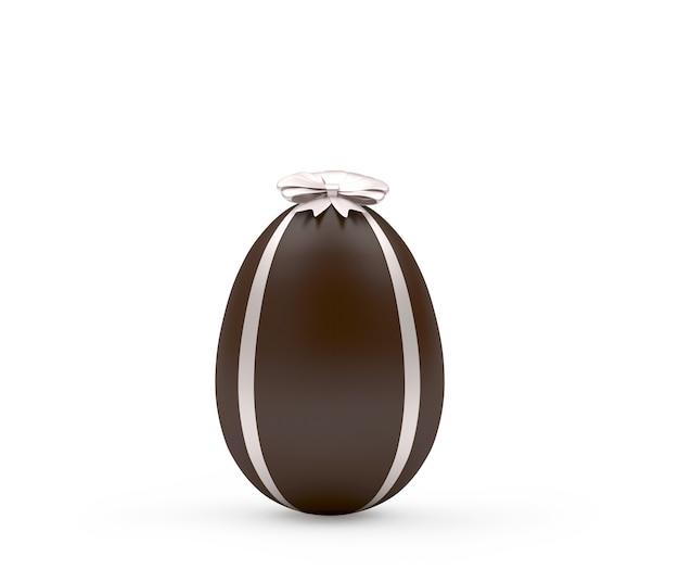 Czekoladowe Jajko Wielkanocne Ze Srebrną Wstążką Premium Zdjęcia