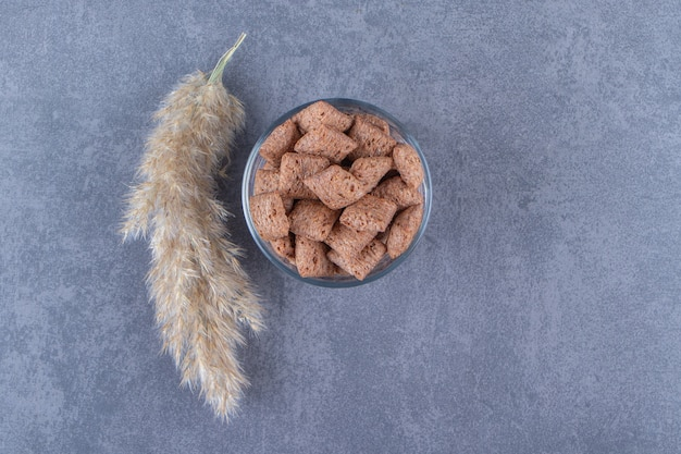 Czekoladowe klocki kukurydziane w szklance obok trawy pampasowej, na niebieskim tle. zdjęcie wysokiej jakości