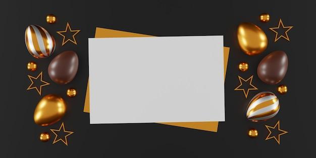 Czekoladowe pisanki na ciemnym tle. widok z góry. leżał płasko. ilustracja 3d