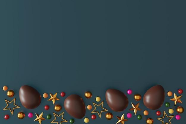 Czekoladowe pisanki na zielonym ciemnym tle. widok z góry. leżał płasko. ilustracja 3d