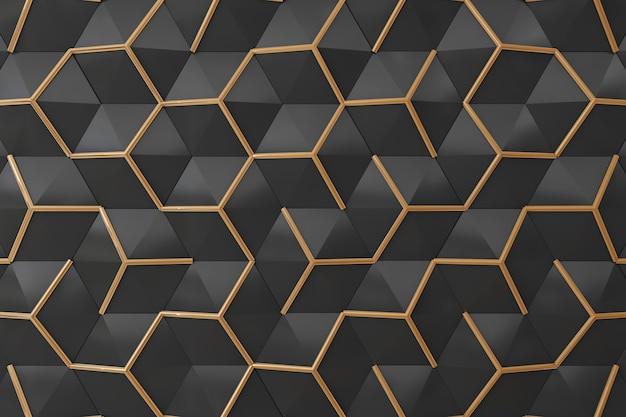 Czerni i złota 3d ściana dla tła