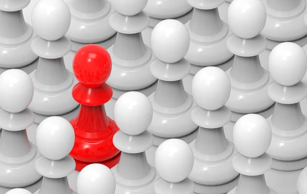 Czerwień wśród prostej białej grupy szachy