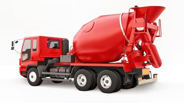 Czerwona betonomieszarka biała powierzchnia