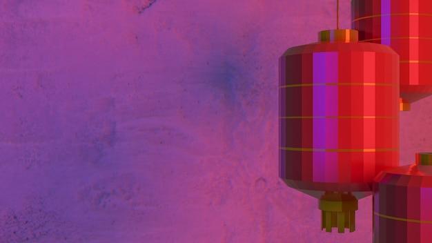 Czerwona chińska latarnia na ścianie cementu dla chińskiego renderowania 3d treści.