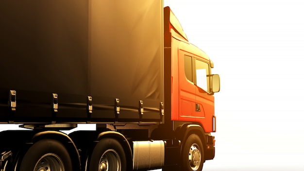 Czerwona ciężarówka przy zmierzchem odizolowywał ok biały tło