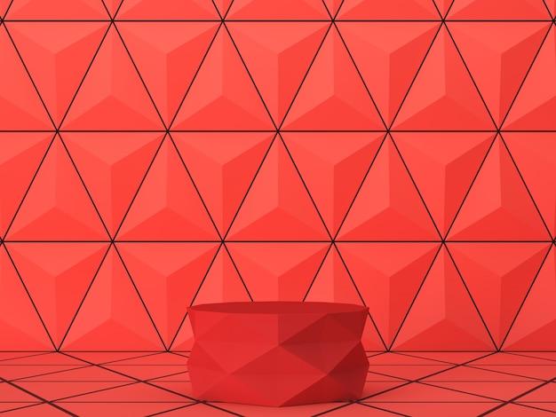 Czerwona cylindryczna podstawa zygzakowatego wzoru na scenie czerwonych trójkątów. abstrakcyjne tło dla marki i prezentacji. renderowanie 3d