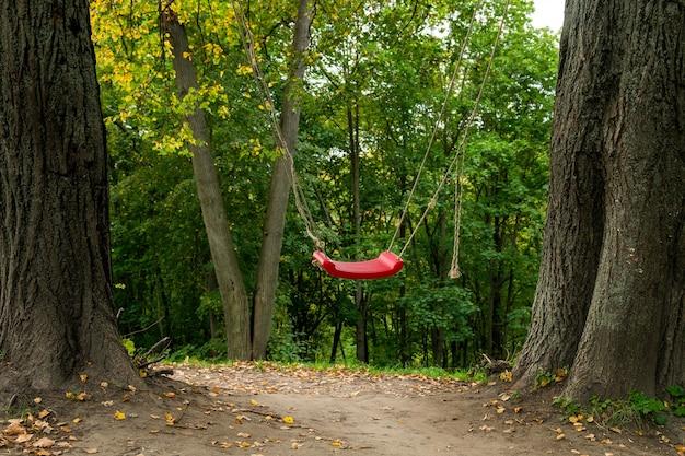 Czerwona huśtawka między dwoma drzewami w lesie, zabawa na świeżym powietrzu dla dzieci