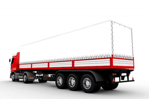 Czerwona i biała ciężarówka