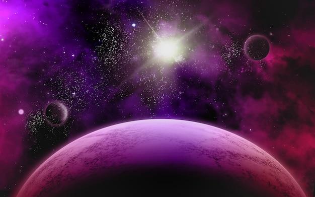 Czerwona i fioletowa scena kosmiczna z gwiazdami, mgławicą i galaktyką mleczną jpg