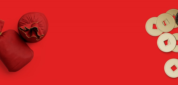 Czerwona jedwabista worek pieniędzy i chińskie złote monety na czerwonym tle. 3d renderowania ilustracja.
