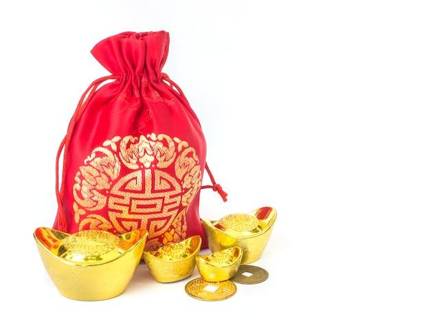 Czerwona jedwabista worek pieniędzy z pieniędzmi: lucky pouch