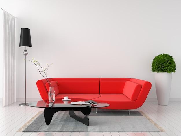 Czerwona kanapa w białym pokoju wnętrze