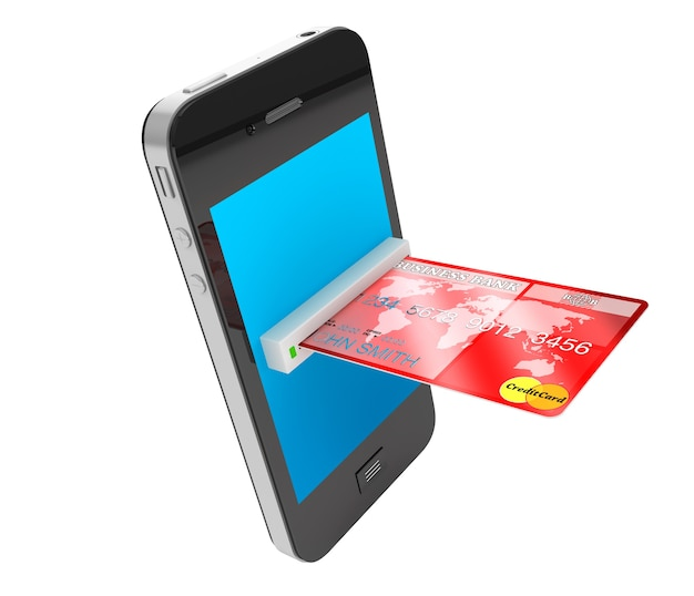 Czerwona karta kredytowa i nowoczesny telefon komórkowy na białym tle