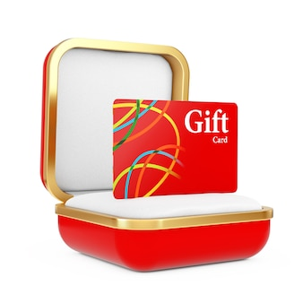 Czerwona karta upominkowa w czerwonym pudełku na białym tle. renderowanie 3d