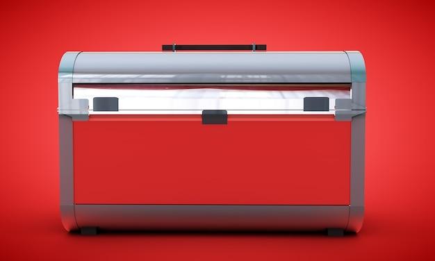 Czerwona klatka piersiowa pusta renderowanie 3d na gradientowym tle