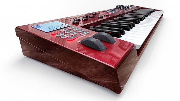 Czerwona klawiatura midi syntezatora