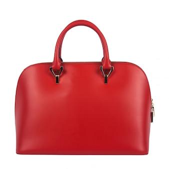 Czerwona kobiety torba odizolowywająca
