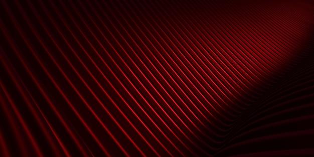 Czerwona krzywa zniekształcony kształt równoległe linie czerwona plastikowa rurka tekstury modern abstract 3d illustration