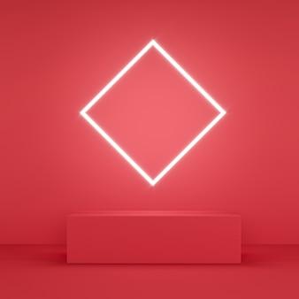 Czerwona ławka z neonem w kształcie rombu