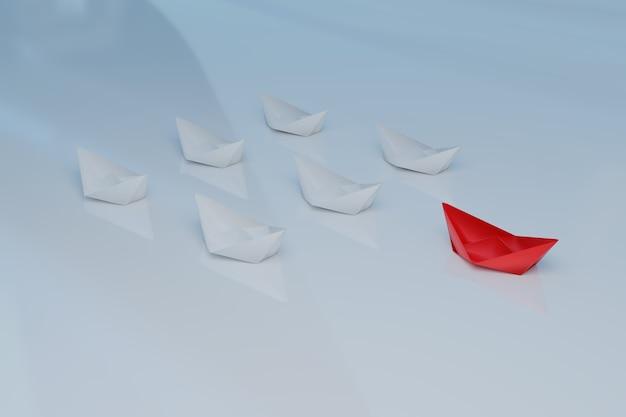 Czerwona łódź zabiera lidera do zespołu sukcesu, renderowanie ilustracji 3d