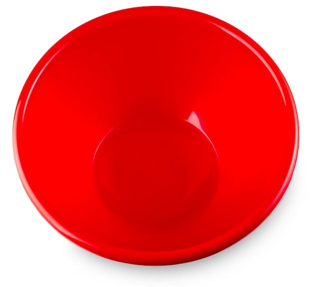 Czerwona miska na białym tle