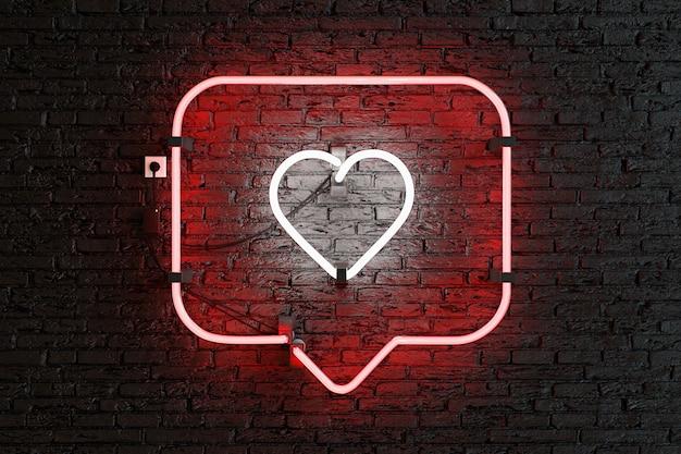 Czerwona neonowa ramka powiadomień z sercem w środku na ścianie z cegły