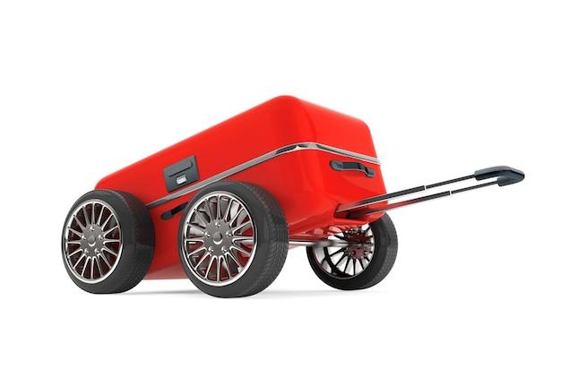 Czerwona nowoczesna walizka z kołami opon na białym tle. renderowanie 3d