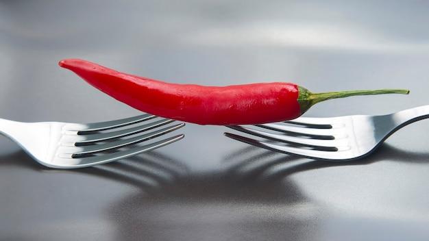 Czerwona ostra papryka na szarym talerzu. przyprawy i warzywa. pikantne potrawy i witaminy