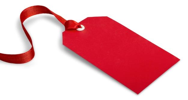 Czerwona papierowa etykieta na białym tle