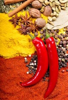 Czerwona papryka chili i mieszanka różnych przypraw jako tło