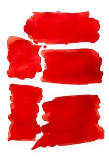 Czerwona plama akwarela z pociągnięcia pędzlem na białym tle. pociągnięcia pędzlem akwarela miejscu białe tło. czerwony streszczenie malowane akwarelą. kreatywny projekt tła. ustawić