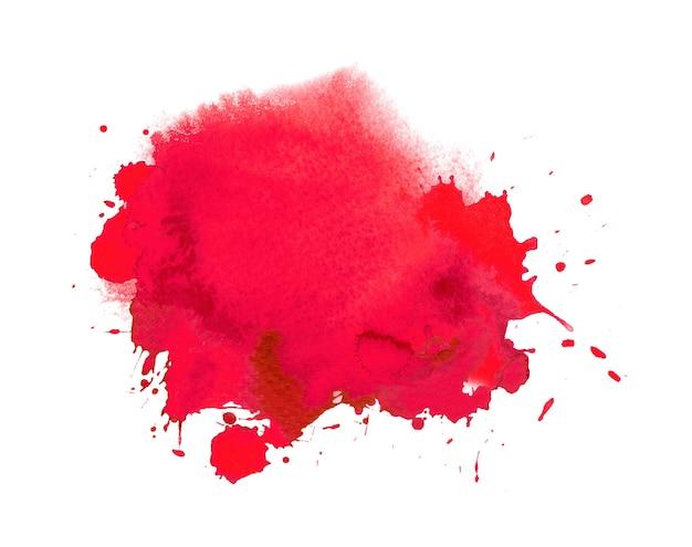 Czerwona plama akwareli lub tuszu z rozchlapywaniem farby akwarelowej