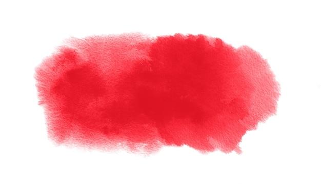 Czerwona plama akwareli z plamą farby akwarelowej i pociągnięciem pędzla
