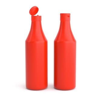 Czerwona plastikowa butelka keczupu pomidorowego otwarta i zamknięta nakrętka na białym tle do projektowania etykiet