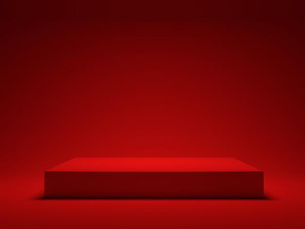 Czerwona platforma na czerwonym tle do pokazywania produktu. renderowanie 3d