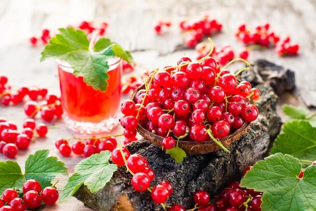 Czerwona porzeczka w misce na korze drzewa i szklance wrzącego napoju z czerwonej porzeczki